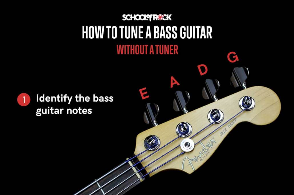 Bass guitar notes are E, A,D, and G