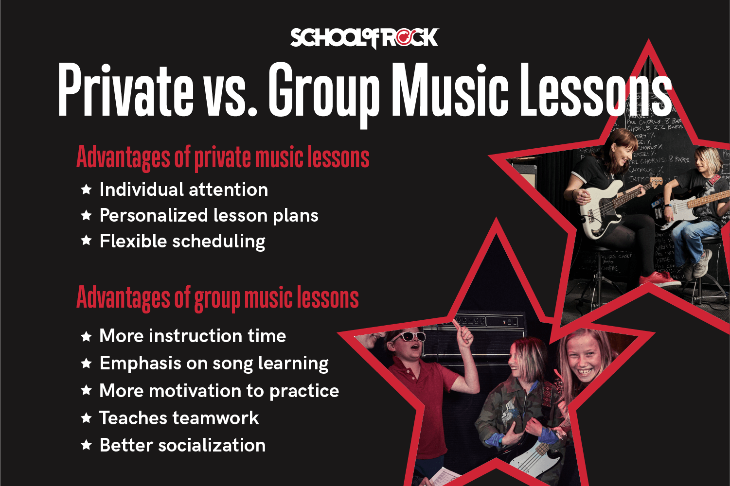 The advantages and disadvantages of private versus group music lessons.