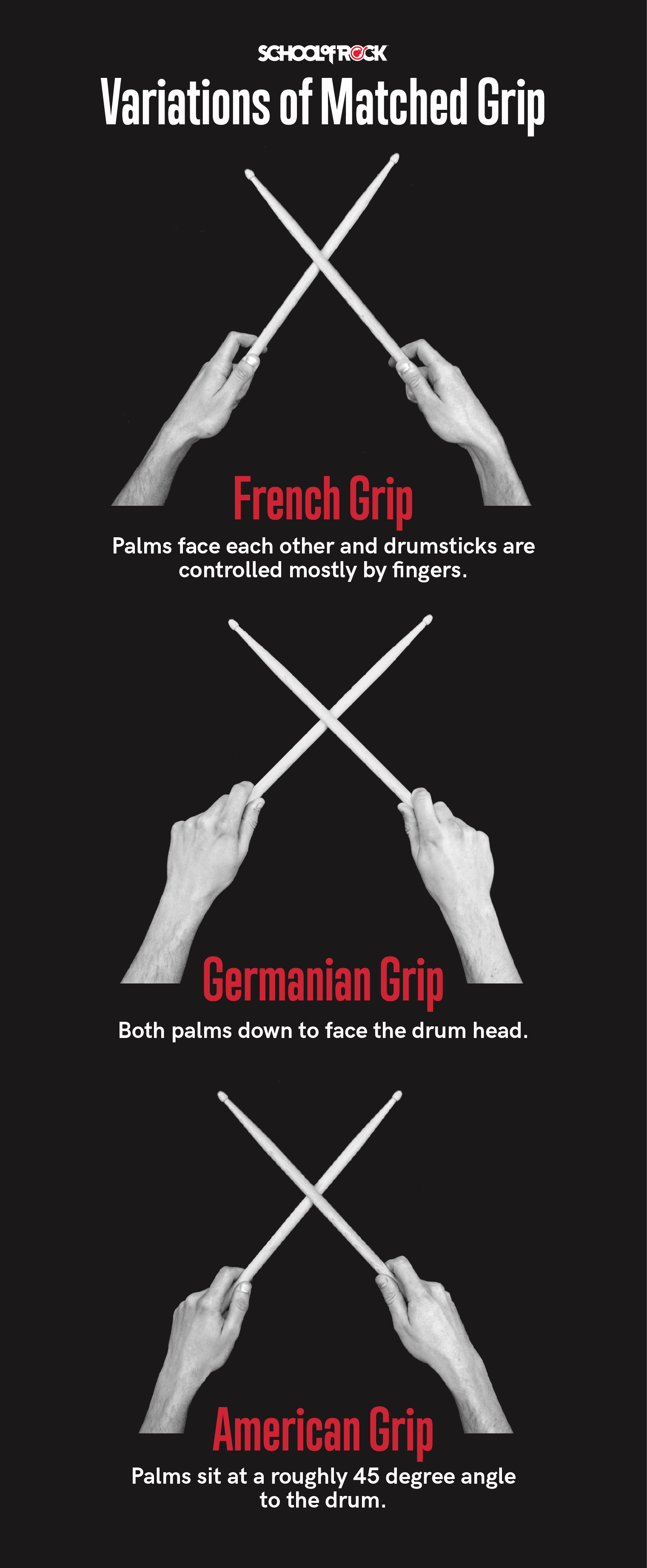 Variations for matched grip for drums