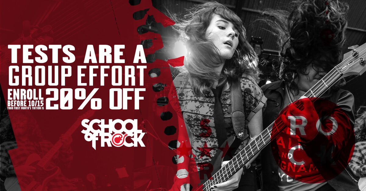 At School of Rock, kids learn to rock with each other and for each other. Our approach gives everyone a role in the group and teaches skills beyond music-like self-confidence, teamwork and working toward a goal.