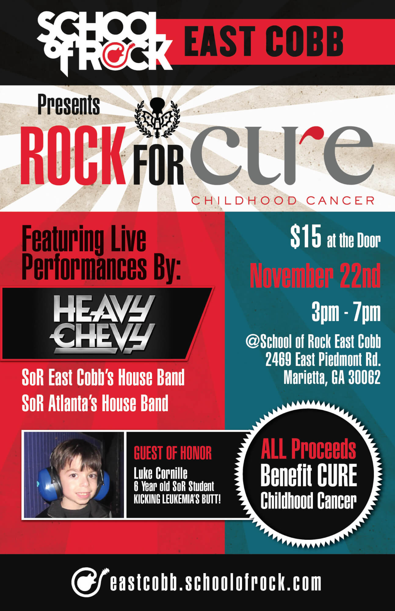 ROCK For CURE Childhood Cancer, Saturday, Nov 22, 2014 3pm-7pm.  1005 proceeds to benefit CURE.  House band performs from Atlanta School and East Cobb School.  Also, special appearance from Atlanta Local Funk Band, Heavy Chevy.