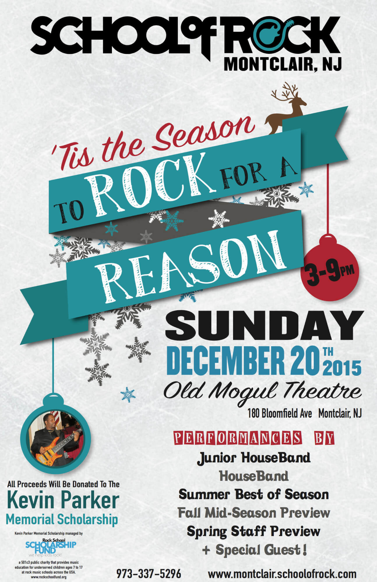 Tis the season to ROCK for a Reason Sunday, December 20th 3-9pm at Old Mogul Theatre