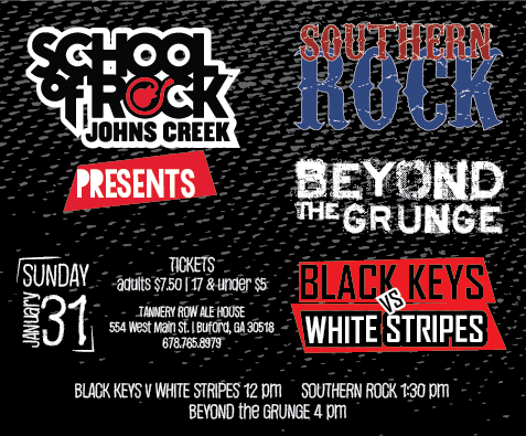 School of Rock Presents End of Season Shows!  Sunday, January 31 Tannery Row Ale House, Buford GA
