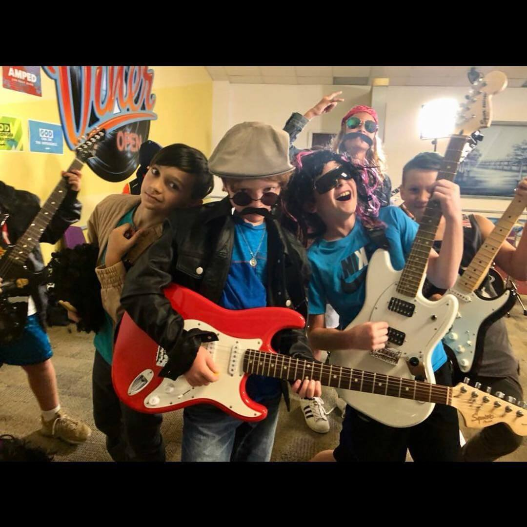 Our Rock Camp guitar video shoot in action.