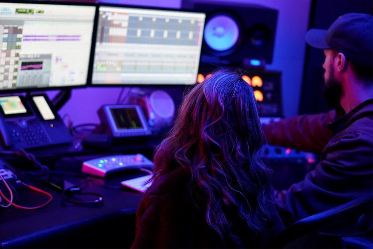 Musician in recording session